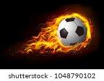 soccer ball in fire  hot... | Shutterstock .eps vector #1048790102