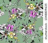 watercolor garden blooming... | Shutterstock . vector #1048809635
