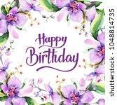 bouquet flower frame in a... | Shutterstock . vector #1048814735