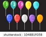 set of multi colored balloons.... | Shutterstock .eps vector #1048819358