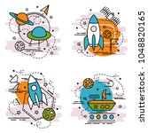 set of outline icons of space... | Shutterstock .eps vector #1048820165