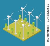 isometric wind turbine green... | Shutterstock .eps vector #1048823612