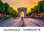 champs elysees and arc de... | Shutterstock . vector #1048826978