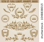 set of golden monograms with... | Shutterstock .eps vector #1048838015