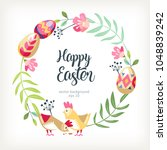 easter round wreath background... | Shutterstock .eps vector #1048839242