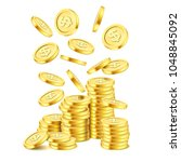 realistic gold coin stack on... | Shutterstock .eps vector #1048845092