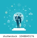 two business people controlling ...   Shutterstock .eps vector #1048845176