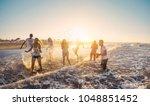happy friends having fun on the ... | Shutterstock . vector #1048851452