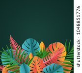 tropical paper palm  monstera... | Shutterstock .eps vector #1048851776