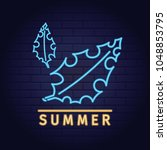 neon set signs tropical summer... | Shutterstock .eps vector #1048853795