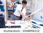 busy frustrated businessman... | Shutterstock . vector #1048858112