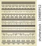 set of vintage lines on beige...   Shutterstock .eps vector #104885912
