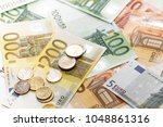 different euro banknotes from 5 ... | Shutterstock . vector #1048861316