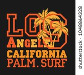 los angeles palm surf ... | Shutterstock .eps vector #1048864328