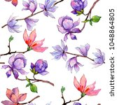 wildflower magnolia flower... | Shutterstock . vector #1048864805