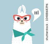 funny muzzle llama alpaca and... | Shutterstock .eps vector #1048868396