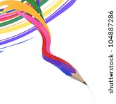 Abstract background line of colour pencil as rainbow illustration - stock photo