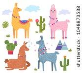 funny llama alpaca with... | Shutterstock .eps vector #1048873538