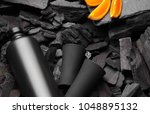 black matte bottle of vodka or... | Shutterstock . vector #1048895132
