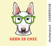 bull terrier geek. dog in smart ... | Shutterstock .eps vector #1048898108