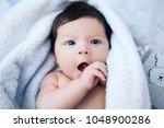 baby  newborn baby cute blue... | Shutterstock . vector #1048900286