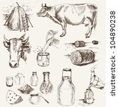 Cow And Milk Products. Set Of...