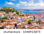 lisbon  portugal city skyline... | Shutterstock . vector #1048923875