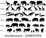 vector silhouettes of elephants ...   Shutterstock .eps vector #104892596