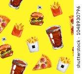 pixel art  junk food seamless... | Shutterstock .eps vector #1048930796