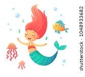 cute singing mermaid in cartoon ... | Shutterstock .eps vector #1048933682