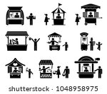 fairs  street sellers and... | Shutterstock .eps vector #1048958975