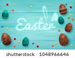 easter composition with... | Shutterstock .eps vector #1048966646