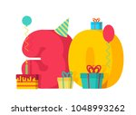 30 year birthday sign. 30th... | Shutterstock .eps vector #1048993262