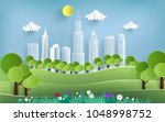 eco green illustration with... | Shutterstock .eps vector #1048998752