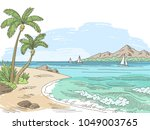 sea bay coast graphic color... | Shutterstock .eps vector #1049003765