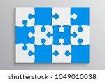 blue piece puzzle rectangle... | Shutterstock .eps vector #1049010038