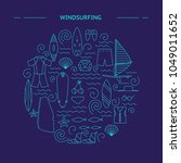 windsurfing round design....   Shutterstock .eps vector #1049011652