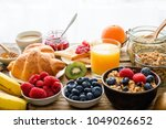 breakfast served with coffee ... | Shutterstock . vector #1049026652