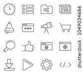 thin line icon set   browser...
