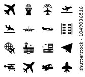 solid vector icon set   plane... | Shutterstock .eps vector #1049036516