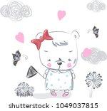 bear. hand drawn vector... | Shutterstock .eps vector #1049037815