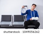 desperate man waiting for his... | Shutterstock . vector #1049056262