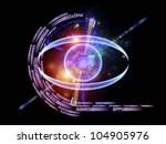 Arrangement of eye outlines, technological wording and abstract design elements on the subject of modern technologies, mechanical progress, artificial intelligence, virtual reality and digital imaging - stock photo