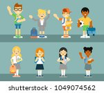 school pupil with backpack... | Shutterstock . vector #1049074562