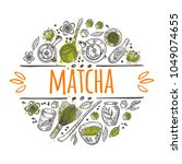 matcha logo  icon and label... | Shutterstock .eps vector #1049074655