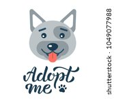 adopt me   dog with hand... | Shutterstock .eps vector #1049077988
