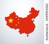 china map with flag. vector... | Shutterstock .eps vector #1049091062