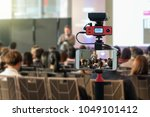 closeup smart mobile phone... | Shutterstock . vector #1049101412
