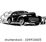 speeding car   retro clipart... | Shutterstock .eps vector #104910605