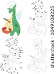 green dragon cooking. coloring... | Shutterstock .eps vector #1049108225
